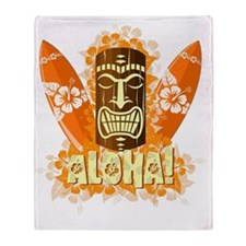 Vector illustration of orange tiki m Throw Blanket