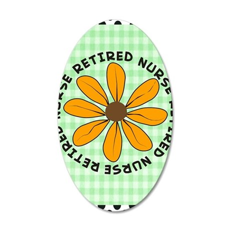 retired nurse gingham green 35x21 Oval Wall Decal