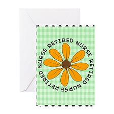 retired nurse gingham green Greeting Card