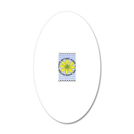 retired nurse gingham 20x12 Oval Wall Decal