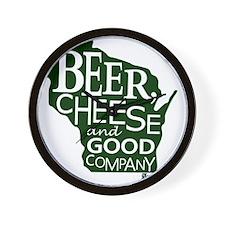 Beer, Chees & Good Company in Green Wall Clock