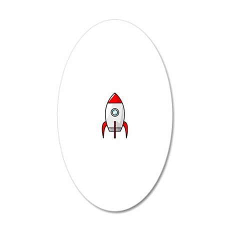 red and white rocket 20x12 Oval Wall Decal