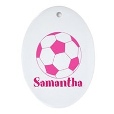 Pink Soccer Ball Ornament (Oval)