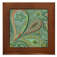 White Lace Paisley Framed Tile