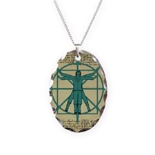 Vitruvian Man at the Wheel Necklace