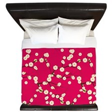 5x7 Cream Cherry Blossoms with Red and  King Duvet