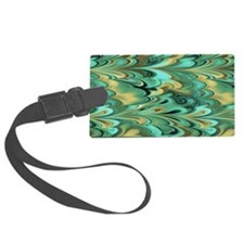 3x5 Green and Gold Marbled Luggage Tag