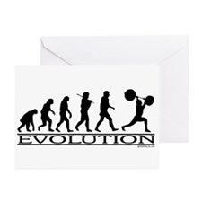 Evolution (Man Weightlifting) Greeting Cards (Pack