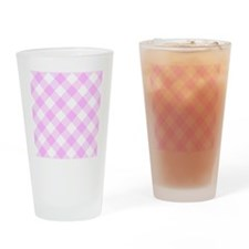 Pale Pink and White Gingham Drinking Glass