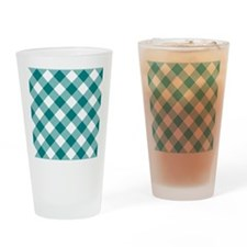 Teal and White Gingham Drinking Glass