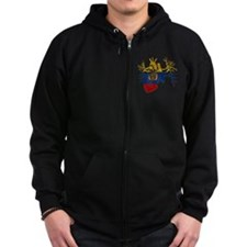 Ecuador Flag in Real heart Zip Hoodie