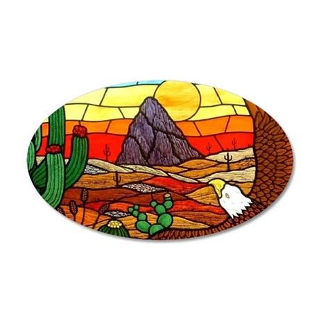 Southwestern Stained Glass E 35x21 Oval Wall Decal