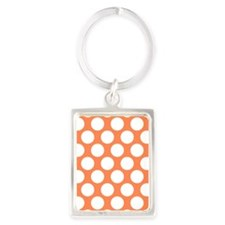Nectarine Orange Polkadot Portrait Keychain