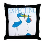 Expecting Blue Throw Pillow