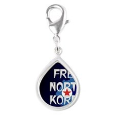Free North Korea Silver Teardrop Charm
