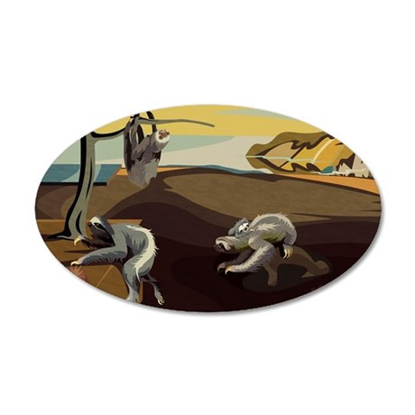 Persistence of Sloths 35x21 Oval Wall Decal