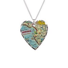 Vintage Florida Greetings Map Necklace Heart Charm