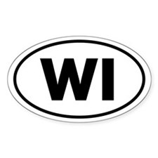 WI Oval Sticker (Wisconsin)
