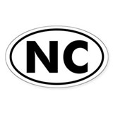 NC Oval Sticker (N. Carolina)