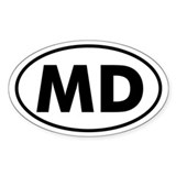 MD Oval Sticker (Maryland)