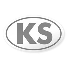 KS Oval Sticker (Kansas)