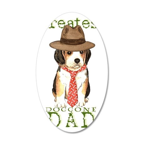 beagle dad 35x21 Oval Wall Decal