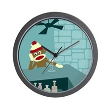 Sock Monkey Martini Bar Wall Clock