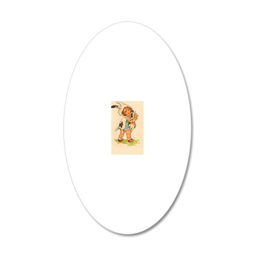 Cute Vintage Bunny Girl 20x12 Oval Wall Decal