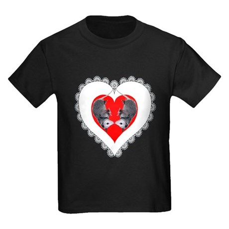 Opossum Valentines Day Heart Kids Dark T-Shirt