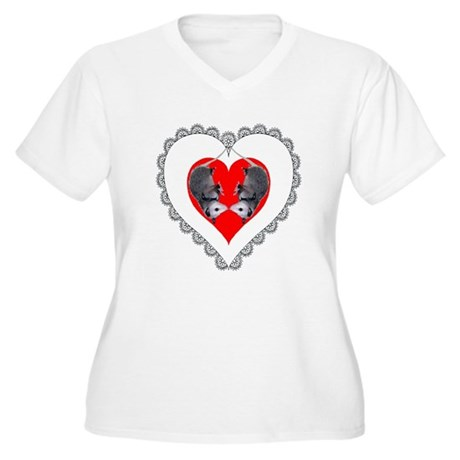 Opossum Valentines Day Heart Women's Plus Size V-N