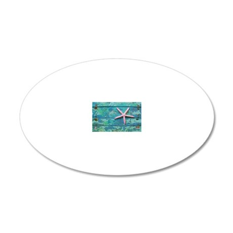Starfish and Turquoise 20x12 Oval Wall Decal