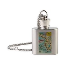 Vintage Greetings from Florida Flask Necklace