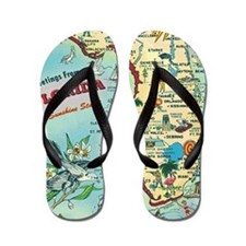 Vintage Greetings from Florida Flip Flops