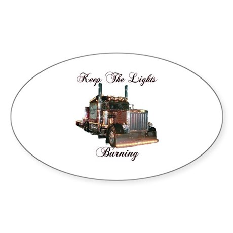 Keep The Lights Burning Oval Sticker