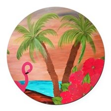 Flamingo in Paradise Round Car Magnet