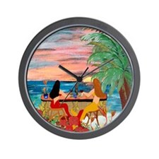 Mermaid Tiki Sunset Wine Bar Wall Clock