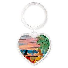 Mermaid Tiki Sunset Wine Bar Heart Keychain