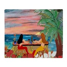 Mermaid Tiki Sunset Wine Bar Throw Blanket