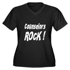 Counselors Rock ! Women's Plus Size V-Neck Dark T-