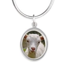 Baby goat Silver Oval Necklace