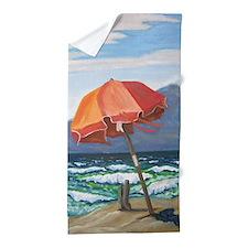 Orange Umbrella Beach Towel