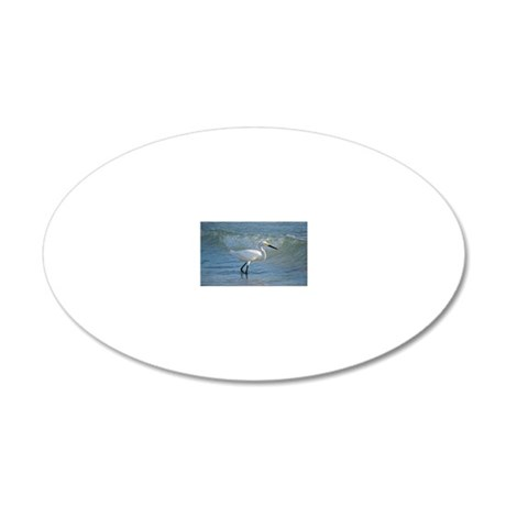Snowy egret 20x12 Oval Wall Decal