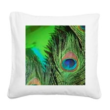 Green Foil Peacock Square Canvas Pillow
