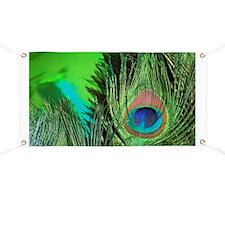 Green Foil Peacock Banner