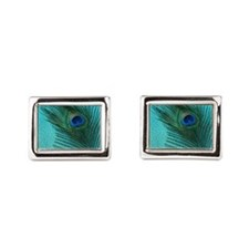 Metallic Aqua Peacock Cufflinks