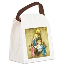 Holy Family Nativity with Angelic Canvas Lunch Bag