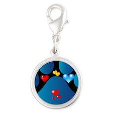 blue paw  Silver Round Charm