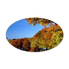 Country Glory in the Fall Oval Car Magnet
