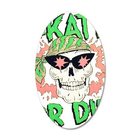 Retro 80s Skate or Die Skull 35x21 Oval Wall Decal