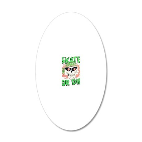 Retro 80s Skate or Die Skull 20x12 Oval Wall Decal